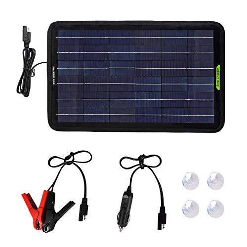 ECO-WORTHY 12 Volt 10 Watt tragbares Solarpanel Erhaltungsladegerät Autobatterie mit Krokodilklemme Adapter Backup für Auto Boot Wohnmobil