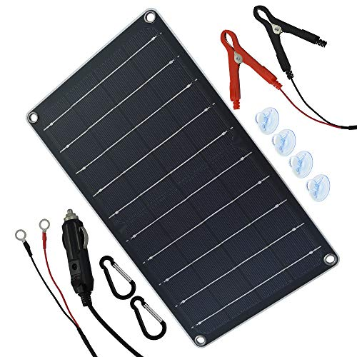 TP-solar 12V 10W Solar Autobatterie Ladegerät Tragbares Akku-Ladegerät Solarpanel Backup für Auto-Boot RV Traktor Motorrad Auto und Batterien