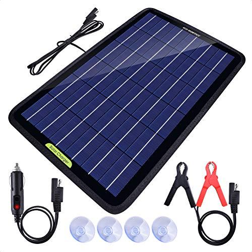 Eco-Worthy Tragbares Akku-Ladegerät mit Solarmodul, 12 V, 10 Watt, Backup für Auto, Boot, mit Krokodilklemm-Adapter