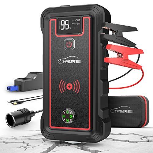 YABER Starthilfe Powerbank 2500A 23800mAh Auto Starthilfe mit 10W Wireless Charger, Starthilfegerät (Für Alle Benzin oder 8,0L Dieselmotor) mit QC.30 Ausgang, LCD Bildschirm, Auto Notfallhammer