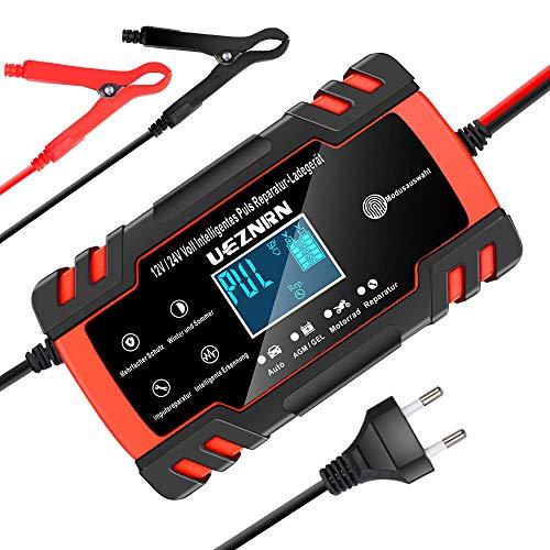 Ueznirn Ladegerät Autobatterie 12V/24V KFZ Batterieladegerät Vollautomatisches Intelligentes Erhaltungsladegerät mit LCD-Touchscreen für Auto, Motorrad, Rasenmäher oder Boot