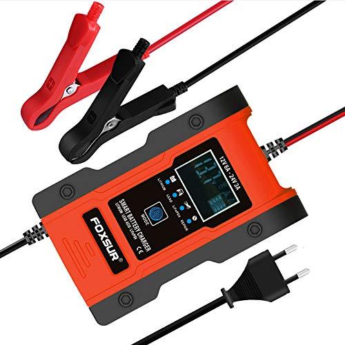 OHMOTOR Autobatterie Ladegerät 12V 6A/24V 3A, Intelligentes Vollautomatisches KFZ Batterieladegerät mit LCD-Touchscreen, Erhaltungsladegerät für Auto, Motorrad, Rasenmäher oder Boot, Rot